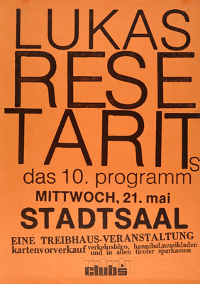 1986-05-21 - stadtsaal - treibhaus - lukas resetarits