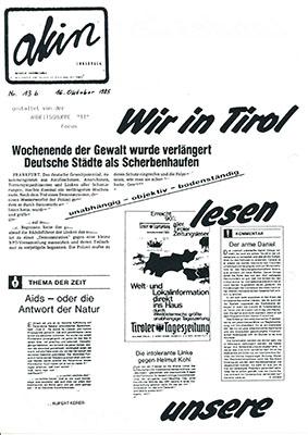 """1985 - Informationen zu Veranstaltungen """"Tiroler Tageszeitung - unabhängig von der Wahrheit"""""""