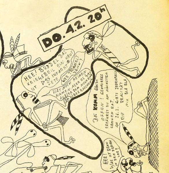desinfarkt party im komm 1982 (ausschnitt aus kommflyer)