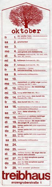 treibhaus flyer - 1982-10-01 - programm